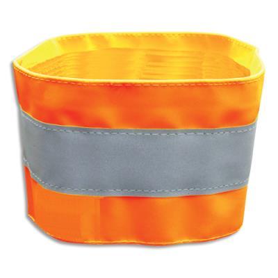 Brassard de sécurité à bandes réfléchissantes oranges Viso - en PVC - ajustable par scratch - L48 x H7,5 cm (photo)