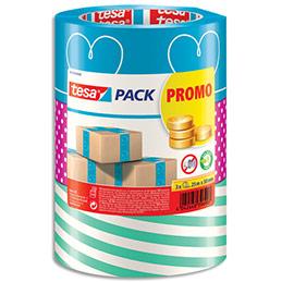 Pack de 3 Rubans adhésif d'emballage Tesa - polypropylène - 52 microns - H25mm x L50m - coloris assortis (photo)