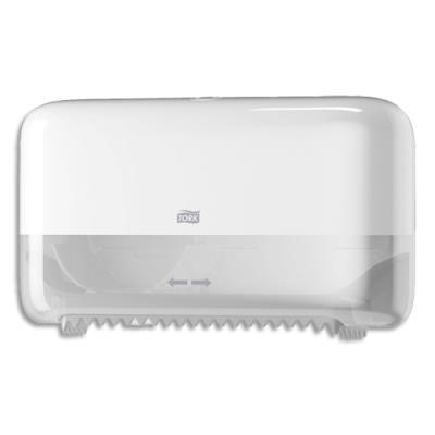 Distributeur double Tork Mid Size de papier toilette en rouleau sans mandrin - L36 x H20,7 x P13 cm - blanc (photo)