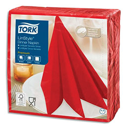 Serviettes Tork Linstyle - non-tissées - aspect+toucher textile - 39 x 39 cm - coqueliquot - paquet de 50 (photo)
