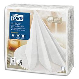 Serviettes Tork Linstyle - non-tissées - aspect+toucher textile - 39 x 39 cm - blanches - paquet de 50
