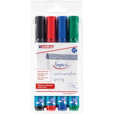 Marqueur pour tableaux de conférence 380 à pointe biseautée de 1,5 - 3 mm - couleurs assorties - lot de 4 - paquet 4 unités