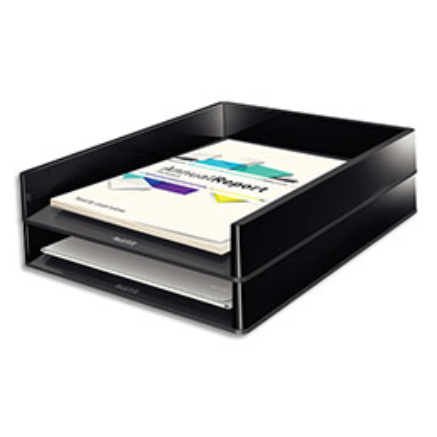 Corbeille à courrier Leitz Dual - L26,7 x H4,9 x P33,6 cm - noire/anthracite métallisé