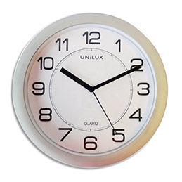 Horloge Unilux Attraction - en plastique - magnétique - mécanisme à quartz - D22 cm - gris métal (photo)