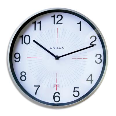 Horloge Unilux Outdoor - en plastique - radio-pilotée - D35,5 cm - gris métal (photo)