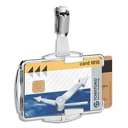 Portes-cartes Durable Anti RFIB - duo transparrent - rigide - clip métallique - L8,7 x H5,4 cm - boîte de 10