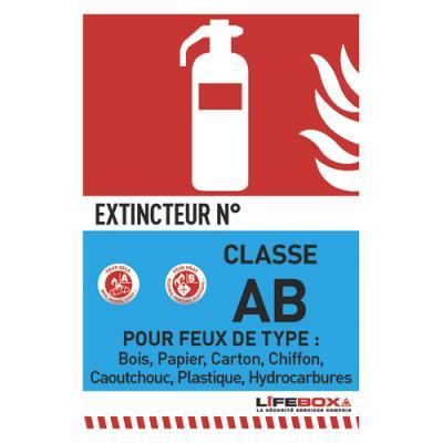 Panneau de signalisation Lifebox -classe feu AB - présence d'extincteur à eau pulvérisée (photo)