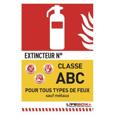 Panneau de signalisation Lifebox - classe feu ABC - présence d'extincteur à poudre (photo)