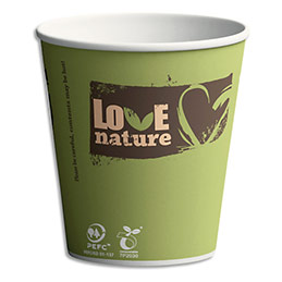 Gobelets Sbio6 Love Nature en carton - 15 cl - H8 cm, D7,03 cm - coloris assortis - sachet de 100 (photo)