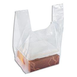 Sacs bretelles transparents - en polyéthylène - 50 microns - O47 x H60 x S30 cm - paquet de 100 (photo)