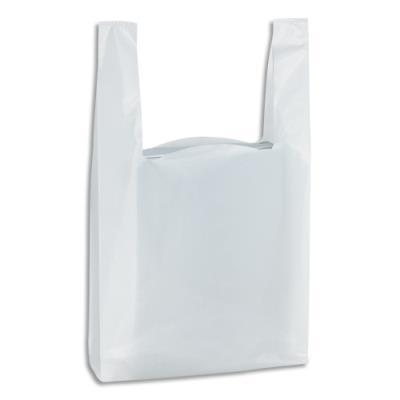 Sacs bretelles blancs - en polyéthylène - 50 microns - O30 x H50 x S14 cm - paquet de 500 (photo)