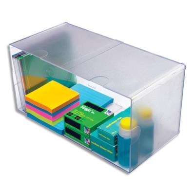 Cube Double Deflecto - en polystyrène - système modulable - L30,5 x H15,3 x P15,3 cm - transparent (photo)