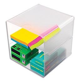 Cube à séparation horizontale Deflecto - polystyrène - système modulable - carré 15,3 cm - transparent (photo)