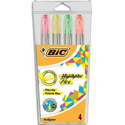 Pochette de 4 surligneurs Bic Flex - jaune, rose, orange et vert (photo)