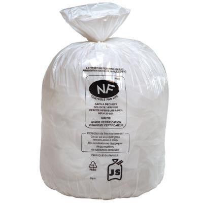 Sacs poubelle blancs qualité NF - 50 Litres - 22 microns - boîte de 500