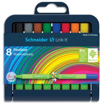 Stylos Schneiders Fineliner Link-It - pointe nylon 0,4mm - coloris assortis - étui de 8