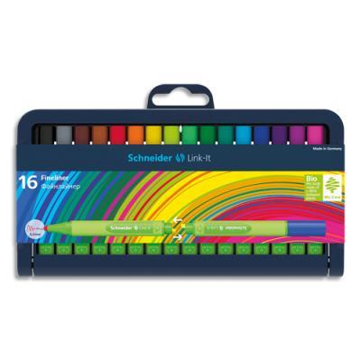 Stylos Schneiders Fineliner Link-It - pointe nylon 0,4mm - coloris assortis - étui de 16