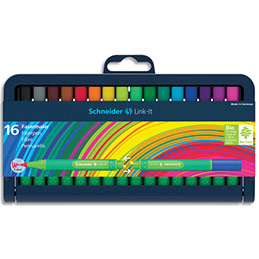 Feutres Schneiders Fineliner Link-It - pointe fibre 1mm - coloris assortis - étui de 16