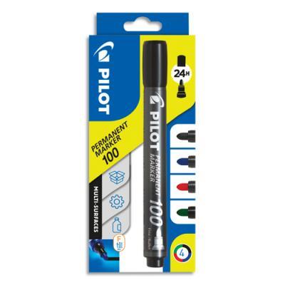 Marqueurs permanent Pilot 100 - pointe ogive - pochettes de 4 : noire, bleue, rouge, verte