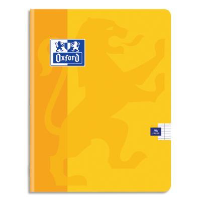 Cahier Oxford School piqûre - 24x32 - 96 pages - Seyès  - couverture carte coloris jaune