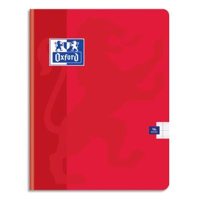 Cahier Oxford School piqûre - 24x32 - 96 pages - Seyès  - couverture carte coloris rouge