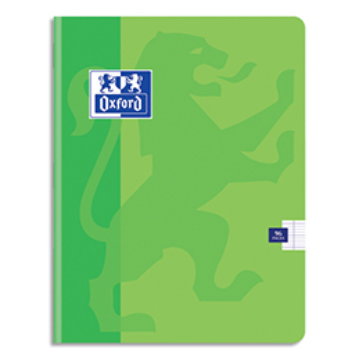 Cahier Oxford School piqûre - 24x32 - 96 pages - Seyès  - couverture carte coloris vert