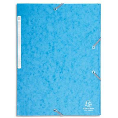 Chemise Exacompta Maxi Capacity - 3 rabats et élastique - carte lustrée 425g - coloris bleu azur (photo)