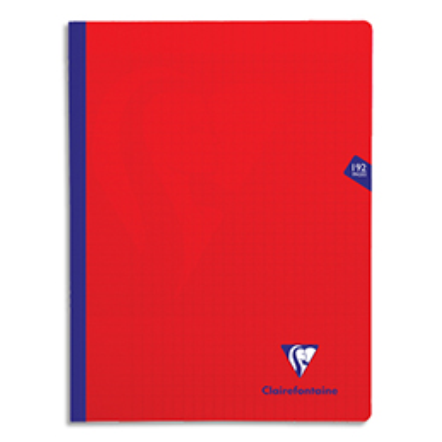 Cahier brochure Clairefontaine Mimesys - 24x32 - 192 pages - Séyès - couverture polypropylène - rouge