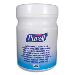 Lingettes antiseptiques et désinfectantes Purell - pour mains et surfaces - boîte de 270 (photo)