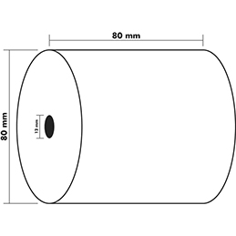 Bobine caisse standard Exacompta - 80x80x12mm - 76 mètres - papier thermique 1 pli sans Bisphénol A - 48g (photo)
