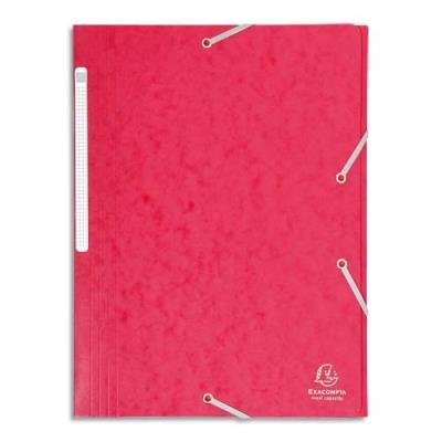 Chemise Exacompta Maxi Capacity - 3 rabats et élastique - carte lustrée 425g - coloris rouge (photo)