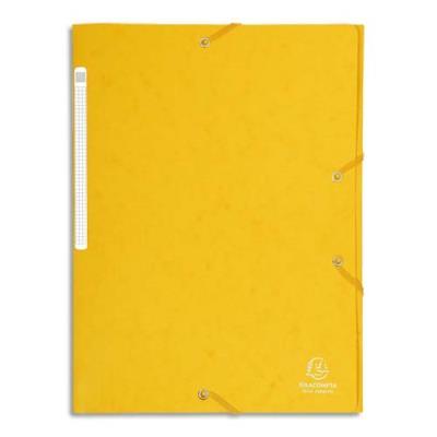 Chemise Exacompta Maxi Capacity - 3 rabats et élastique - carte lustrée 5/10e - coloris jaune (photo)