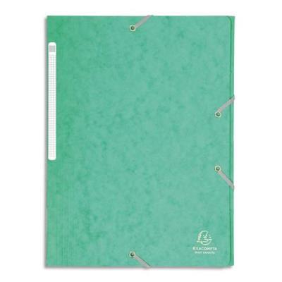 Chemise Exacompta Maxi Capacity - 3 rabats et élastique - carte lustrée 425g - coloris vert clair (photo)