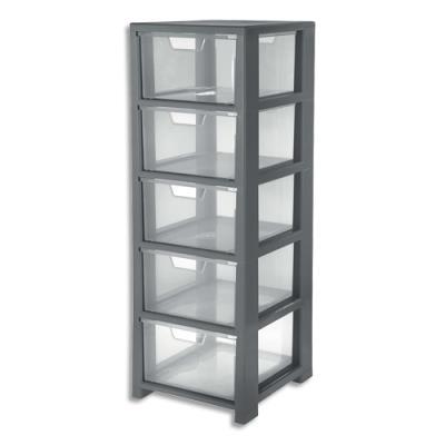 Tour de rangement CEP - 5 tiroirs - L32,5 x H95,6 x P35 cm - gris transparent