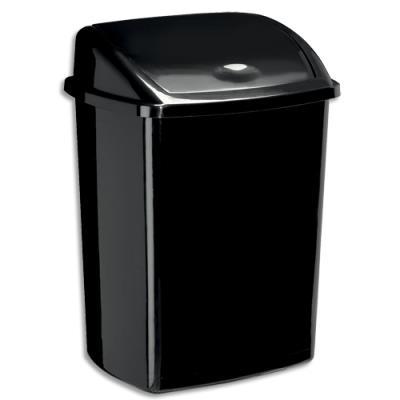 Poubelle à couvercle basculant CEP - en PP recyclable - 50 L - L40,5 x H68,5 x P31 cm - noire (photo)
