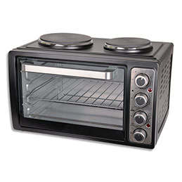 Four combiné avec plaques de cuisson - 3100W - 28L - L39 x H33 x P51 cm - noir argenté (photo)