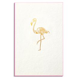 Carte de vœux Papette Gold Flamant rose - carte 800g deux faces tranche rose fluo + env kraft - 115 x 165mm (photo)