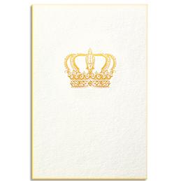 Carte de vœux Papette Gold couronne - carte 800g deux faces tranche or + enveloppe kraft - 115 x 165mm (photo)