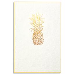 Carte de vœux Papette Gold ananas - carte 800g deux faces tranche or + enveloppe kraft - 115 x 165mm (photo)
