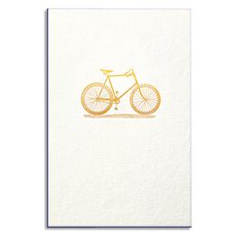 Carte de vœux Papette Gold vélo - carte 800g deux faces tranche bleu + enveloppe kraft - 115 x 165mm (photo)