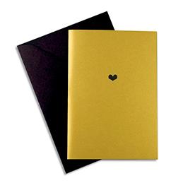 Carte de vœux Papette Golden Years Heart - carte dorée 230g quatres faces + env noire - 115 x 165mm (photo)
