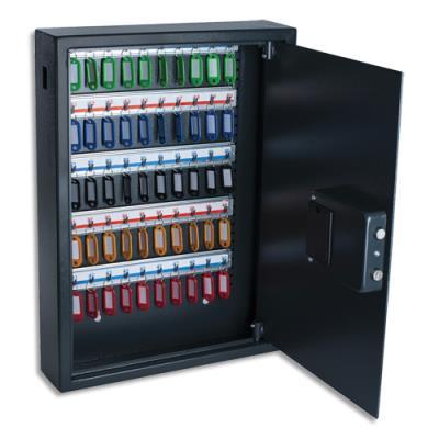 Armoire à clés électronique Pavo - L40 x H56 x P10 cm - gris foncé - capacité 50 clés (photo)