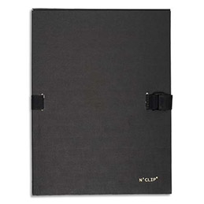 Chemise extensible 51215 de Claircell - dos 10 cm - recouverte de papier grainé vernis - coloris noir