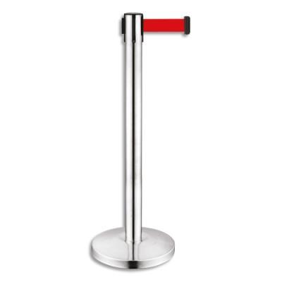 Poteau chromé Viso - H91 cm - avec sangle rouge rétractable 2 mètres - en polypropylène et inox (photo)