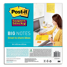 Big Notes Post-It jaune - 279 x 279 mm - 30 feuilles (photo)