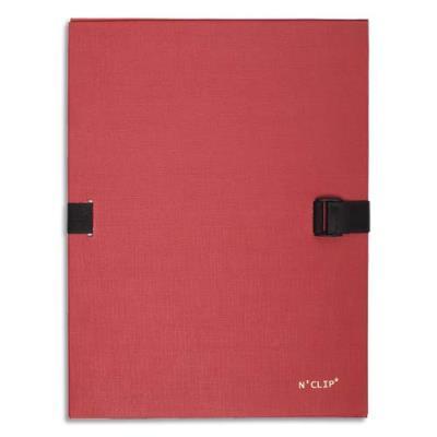 Chemise extensible 51215 de Claircell - dos 10 cm - recouverte de papier grainé vernis - coloris rouge