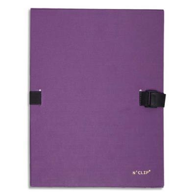 Chemise extensible 51215 de Claircell - dos 10 cm - recouverte de papier grainé vernis - coloris violet
