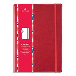 Carnet Oberthur Carmen - 151 x 215mm - 200 pages lignées/paginées - couverture PU - rouge (photo)