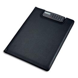 Conférencier Juscha Brescia imitation cuir - 33 x 25 x 2 cm - avec porte-bloc, calculette clip et pochettes - noir