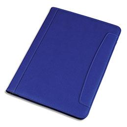 Conférencier Juscha Messina imitation cuir - 32,5 x 24,5 x 2cm - avec bloc-notes et pochettes multiples - bleu